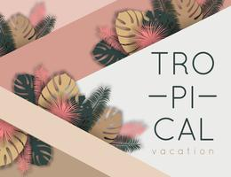 Tropical vacation background with exotic leaves