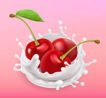 Salpicaduras de cereza y leche. Fruta y yogurt