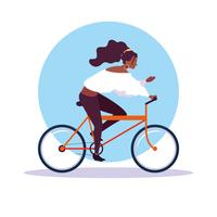 young woman afro riding bike avatar character vector