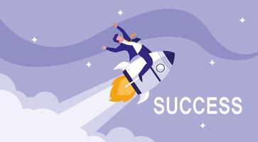 successful businessman celebrating in rocket