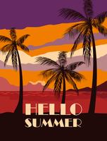 Palm trees and hello summer design