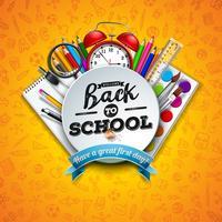 Diseño de regreso a la escuela con lápiz de colores, tijeras, regla y letra de tipografía sobre fondo amarillo. Ilustración de vector con elementos de educación y garabatos dibujados a mano para tarjeta de felicitación, pancarta, folleto, invitación, foll