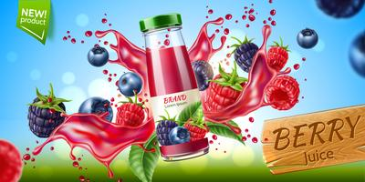 Vector forest berry mix juicy splash motion