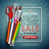 Zurück zu Schulverkaufs-Design mit buntem Bleistift, Bürste und Schere