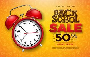 Tillbaka till skolans försäljningsdesign med rött väckarklocka.