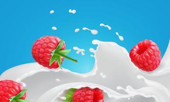 Framboesa vermelha em iogurte cremoso.