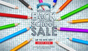 Diseño de venta de regreso a la escuela con lápices de colores y garabatos dibujados a mano