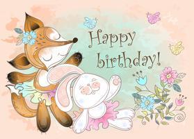 Cartão de aniversário com um coelho e uma raposa fofa