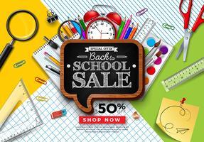 Tillbaka till skolans försäljningsdesign med färgglada pennor
