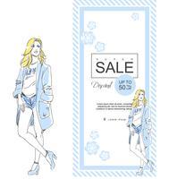 Venda de loja de moda com menina elegante