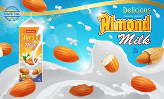 Almond milk splashing liquid