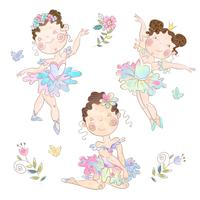 Set of cute girls ballerinas with birds and flowers