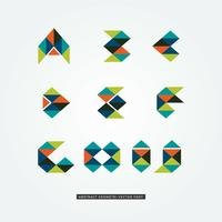 A through J Geometric Letters Logo Set