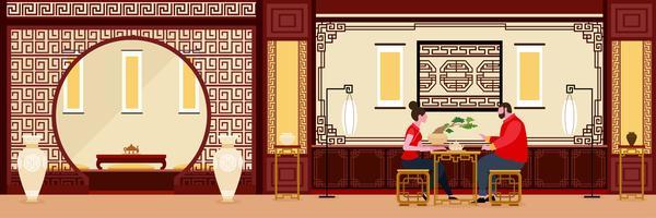Kinesiskt vardagsrum med par som pratar