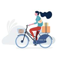 Teenager riding bicycle vector