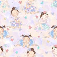 Seamless pattern of Lovely girl ballerinas vector