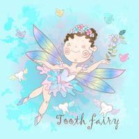 Tooth fairy on blue background