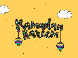 Greeting card with colourful text for Ramadan Kareem.