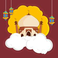 Creative Mosque for Islamic Festivals concept.
