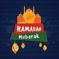 Papiermoschee mit Text für Ramadan Kareem.