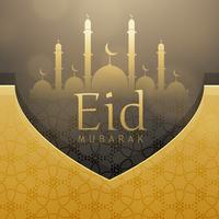 beautiful eid festival greeting card design with golden decoration