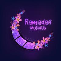 Glödande måne för Ramadan Mubarak-firande.