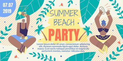 Invitation with Inscription Summer Beach Party