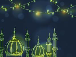 Glänsande moské för islamisk festivalfirande.