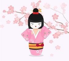 Japansk docka med bakgrund för körsbärsrött träd