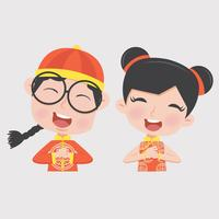 boy and girl in Chinese children Costume
