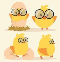 Tecknad gullig chickuppsättning
