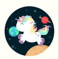 Mini unicornio en vector espacial
