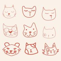 hand draw face cat vector