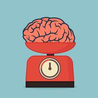 red weight scale with brain