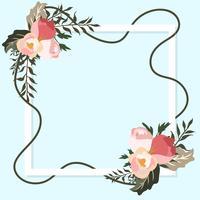 Marco de flores de primavera en estilo plano