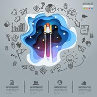 Spaceship launch to space business infographics and diagram, paper art start up concept and success business idea