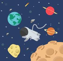 Astronaut  in space flat design