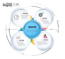 Diagrama de infografía de círculo para presentación.