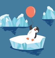 penguin  holding balloon on ice floe