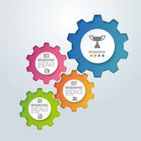 Kleurrijke Gear vorm zakelijke infographics en diagram, papier kunst concept en succes bedrijfsidee