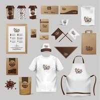 Unternehmensidentität Kaffeeindustrie. Vorlage von Kleidung, Paketen, Rohlingen, Geschirr.
