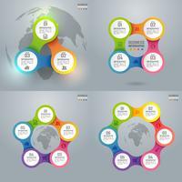 Färgglad affärsinfografik och diagram, papperskonstkoncept och affärsidé för framgång