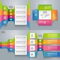 Colección de infografías de negocios coloridos y diagrama, concepto de arte en papel e idea de negocio exitosa