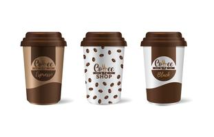 Huisstijl koffie-industrie. Sjabloon van papieren bekers voor drankjes.