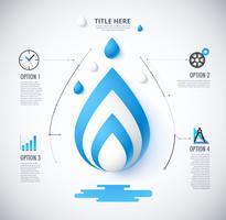Infographik Diagramm des Wasserkonzeptes. inklusive Symbol und Beispieltext. Vektor Infografik.