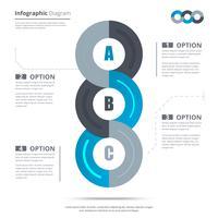 Banner di opzioni infografica con processo in 3 parti. Può essere utilizzato per web design, presentazioni, brochure e layout del flusso di lavoro. illustrazione vettoriale
