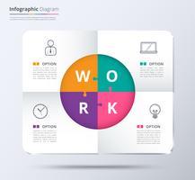 Diagram och infographic mall använde provinnehåll. 4 val infographic diagram, system diagram och presentation. Vit presentationsmall för företag. vektor lager.
