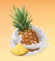 Ananas en melk splash. Fruit en yoghurt.