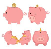 Piggy bank with goin coin concept of growth set