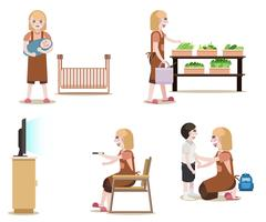 Maids Work Set. Women with cleaning equipment Isolated vector. Housekeeper job.